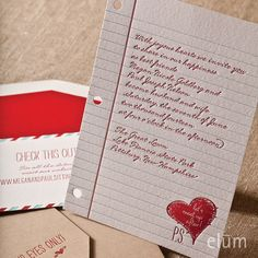 binder paper love note invitation