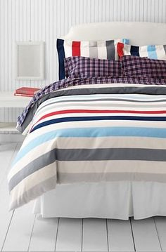 Lands' End Flannel Stripe Duvet Cover