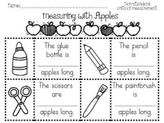 Measuring with apples worksheet