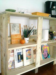 La estanterías y las mesas de apoyo de palets de Laura : x4duros.com
