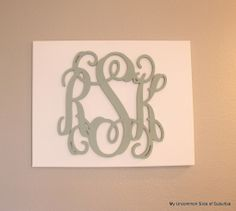 Painted wood letters on a blank canvas, easy diy project.