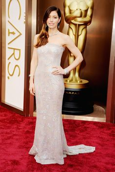 Jessica Biel wearing Chanel Couture and Tiffany jewels at the #Oscars #2014: The Red Carpet Arrivals. #BestDressed #RedCarpet  via Harper's Bazaar
