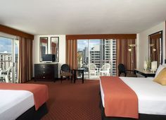 Guest room at Aqua Waikiki Wave - my fave hotel when staying in Hawaii