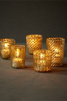Perfect color and texture to create mood lighting! Via Bric-A-Brac Votives (5) from BHLDN