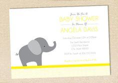 Elephant Baby Shower invitation - set of 12. $15.00, via Etsy.