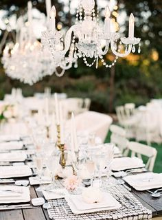 #tablescapes, #table-runners, #chandelier  Photography: Jen Huang Photography - jenhuangphotography.com  Read More: http://www.stylemepretty.com/2014/09/08/modern-tuscan-inspired-wedding-with-pops-of-color/