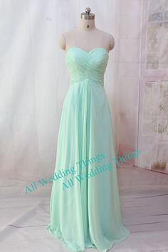 Mint green Bridesmaid dress long prom dress  by allweddingthings, $110.00