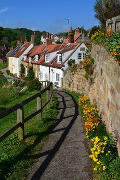 ~Blooms and cottages in a timeless scene at Low Row, Sandsend, North Yorkshire, England~
