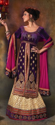 135067: And one more way to hide the extra belly-fat during functions is to wear a #jacket choli with #lehenga