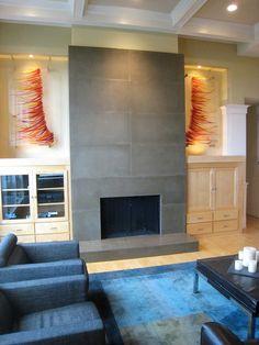 tall modern fireplace