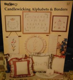 CANDLEWICKING ALPHABETS & BORDERS Needlework Pattern B251 - 1983 OOP ShariAne  #ShariAne #PillowCover