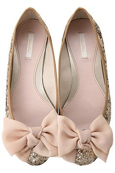 yes. fashion shoes, receptions, wedding shoes, sparkly shoes, weddings, heel, blush pink, ballet flats, big bows
