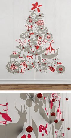 Best 10 Adorable Christmas Kids Room Decorations : Charming Christmas Tree and Deer Wall Decal Inspiration for Amazing Christmas Kids Room D...
