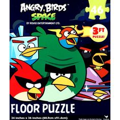 Angry Birds Space 46 Piece Floor Puzzle | Video Games | CALENDARS.COM - $12.99  Enjoy this super fun floor puzzle featuring Angry Birds! This puzzle consists of 46 pieces and measures 24 inches by 36 inches when assembled.