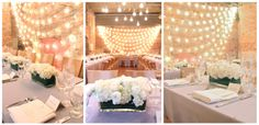 www.sweetpfloral.com Zingerman's Events on fourth 4th wedding venue flowers by sweet pea floral design 10 inch long 4 inch wide clear glass rectangular vase with aspidistra leaf within long low white table runner centerpiece for zingermans on fourth wedding sweet pea floral design ann arbor wedding florist backdrop strings / strands of lights and hanging glass globes