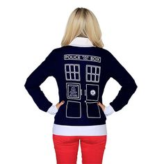 Union Jack TARDIS Cardigan? Welp. I need this.