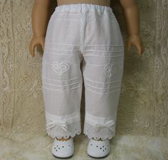 WHITE REGENCY PANTALETTES for Caroline or any American Girl Dolls like Cecile Elizabeth Kirsten