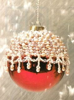 Beaded Frosted Holiday Christmas Ornament Cover