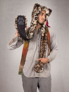 What's Your Spirit Animal?....... LEOPARD (Faux Fur) ...................... Traits: Intelligent > Free > Leader ... Find out more about the #Leopard #Spirit #Animal at: https://www.spirithoods.com/adults/mens/leopard/720/# $119 #Gifts #Fashion #SpiritHood #SpiritHoods #Men #Hoodie #FauxFur #Paws #Scarf