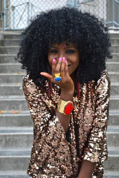 color, pink nails, natur hair, sequins, curls, blazers, big hair, accessories, glitter