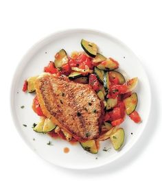 Seared Snapper With Sautéed Zucchini and Tomatoes recipe tomato recipes