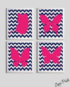Nursery wall art. Chevron. Hot Pink.   Girl's room. #baby #nursery #room