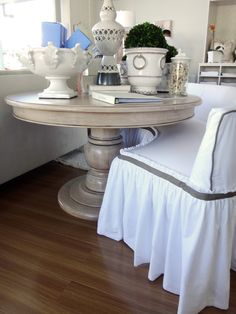 Dining Table And Half Circle Dining Bench Slipcovered Dining Bench