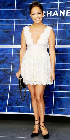 White Lace Dress  Jennifer Lopez - Look of the Day - InStyle