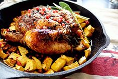 Sage and Garlic Roasted Chicken with Pomegranate and Black Pepper Glaze —In Sock Money Slippers