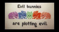 Evil Bunnies Are Plotting Evil Cross Stitch by BlueTopazStitchery, $4.00