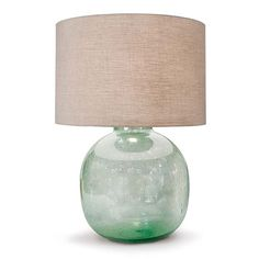 Aqua Green Recycled Seeded Glass Lamp from Regina Andrew - Elegant Beach House Lamps - Table Lamps - Coastal Lighting