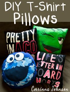 DIY T-Shirt Pillows #crafts #upcycled #tshirtcrafts