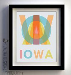 IOWA Word Art Typography