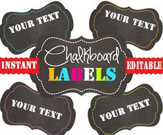 Chalkboard Labels -Printable Labels - INSTANT and EDITABLE - Pantry Labels, Bathroom Labels, Office Labels, Organization Tags via Etsy