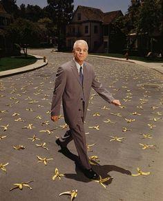 Steve + grey suit + banana peels.