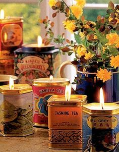 Candles:  #Candles in old tea tins.