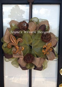 All year wreaths with deco mesh, burlap, twine and fleur de lis  Available at Jayne's wreath desings on fb