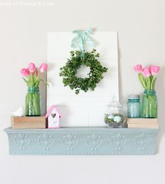 mantels, spring mantel, easter, decorating ideas, spring decor, tulip, spring wreaths, mason jars, mantl