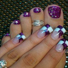 purple and white checkered flare nails #wide #french mani & pedi