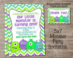 Printable LITTLE MONSTER Party Invitation & Thank You card for Girl or Boy (Great for 1st Birthday)