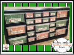 A sports themed teacher toolbox! Perfect way to organize your office supplies! Download the labels for FREE!!!