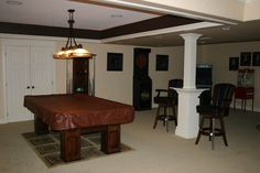 build out a pillar in a basement as a small table