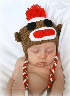 hats, craft, sock monkeys, socks, hat patterns, babi, monkey hat, sockmonkey, crochet patterns