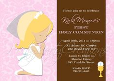 COMMUNION GIRL pink and brown invitation  by PrettyPartyCreations, $11.50