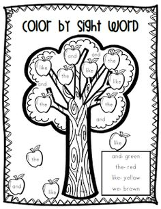 Apple- Color by Sight Words color by sight word, sight word color by number, appl