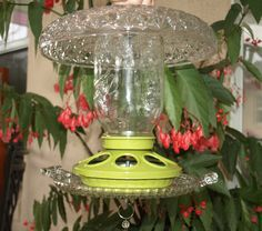 Use a Mason Jar, Chick Feeder, and Two Plates to Create this Awesome Bird Feeder!