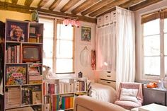 studios, studio apartments, paris apartments, bed, studio apartment living, tiny apartments, multipurpose room, small spaces, small space solutions