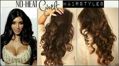 Kim Kardashian No-Heat Curl Hair Tutorial Video | How to curl your hair without damage for medium or long hair. Kim Kardashian Curls, Hairstyle Tutorials, How To Curl Your Hair For Prom, Curling Hair Without Heat, Everyday Curls, How To Curl Hair Without Heat, Curly Hair Without Heat, Heatless Curls, Heat Curl
