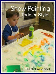 Snow Painting by Teach Preschool