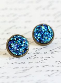 Brass Post Earrings Blue Sparkle Stud Earrings